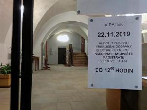 Na jihlavském magistrátu nepůjde elektrika. 22. listopadu bude úřad od 12 hodin uzavřen