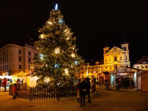 VIDEO: V Jihlavě začal adventní čas. Lidé na náměstí společně rozsvítili stromeček
