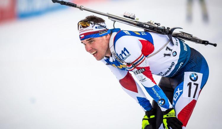 Biatlonista Michal Krčmář doběhl čtvrtý ve sprintu. Od medaile ho dělilo 13 sekund