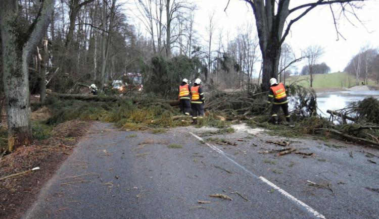 Hasiči na Vysočině jeli kvůli bouřce ke spadlým stromům. K tomu pomáhali u dvou nehod