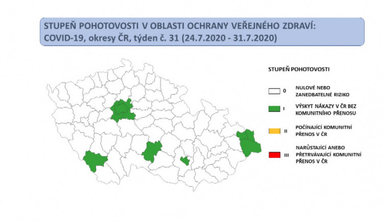 Jihlavsko je na covidové mapě zelené s prvním stupněm rizika