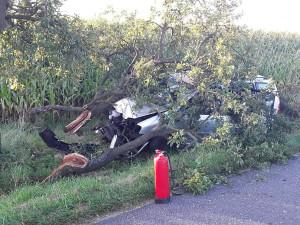 Osobní vozidlo čelním nárazem doslova rozlomilo strom, dvě osoby jsou hospitalizovány