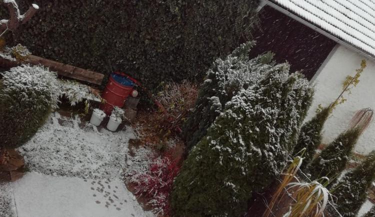 První sníh na Vysočině