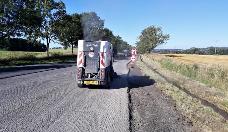 Opravy na silnici I/19, září 2021